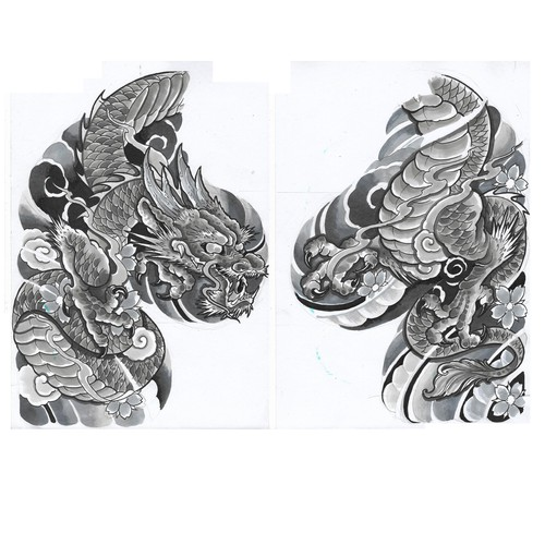 oriental dragon tattoo flash
