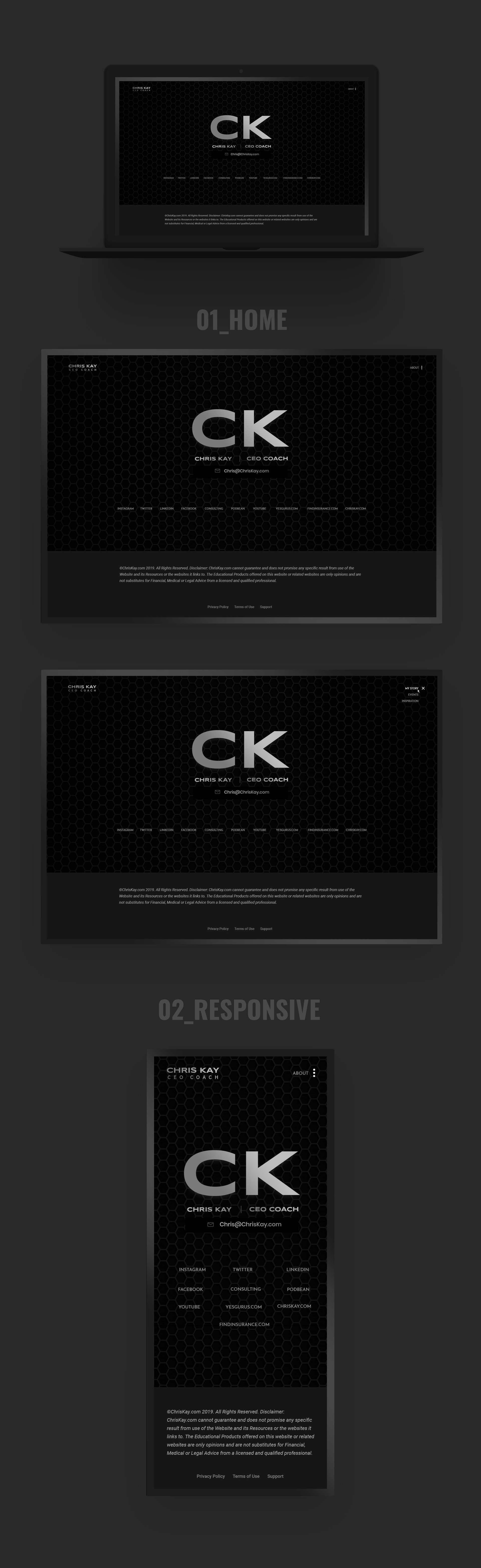 Super Sleek Black steel grey award winning personal site