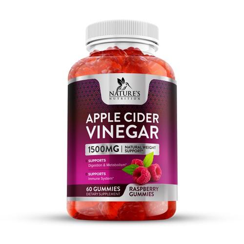 Apple Cider Vinegar Raspberry Gummies Label Design