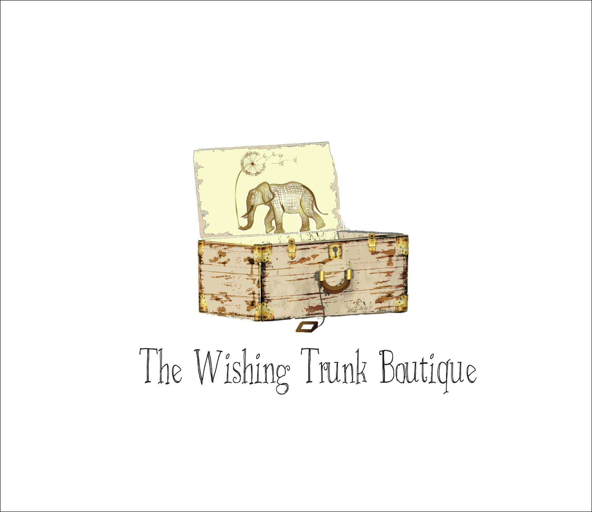 Create a boutique logo for The Wishing Trunk Boutique