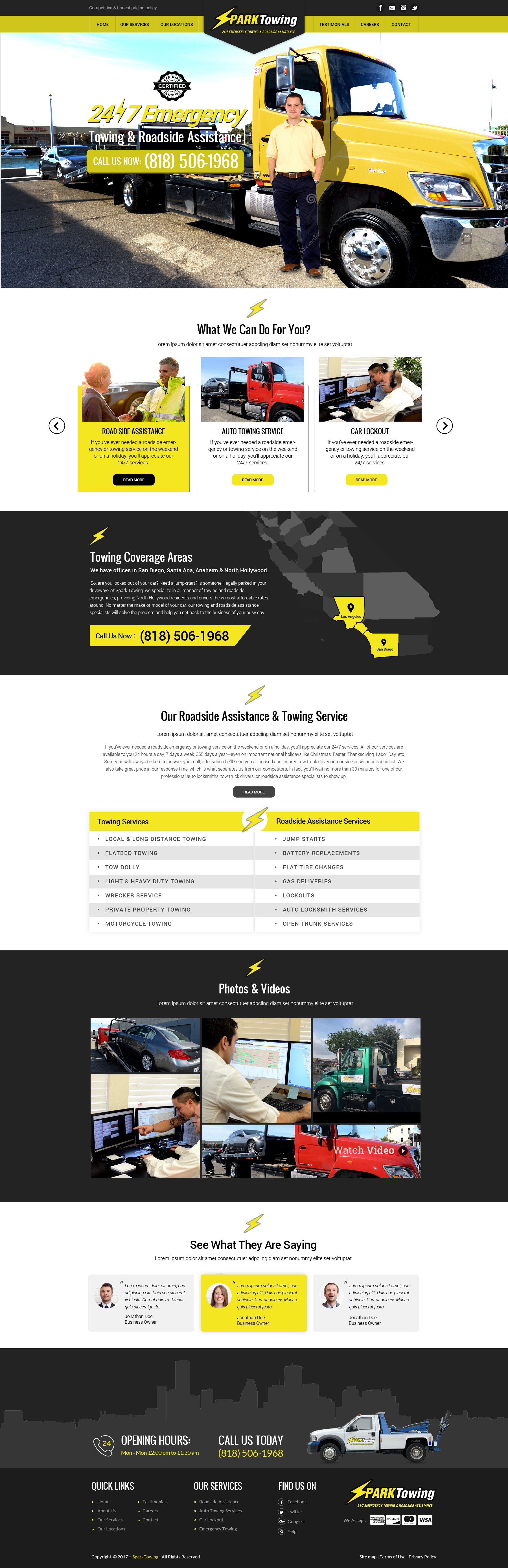 Design a Fresh New Towing Company Website Homepage