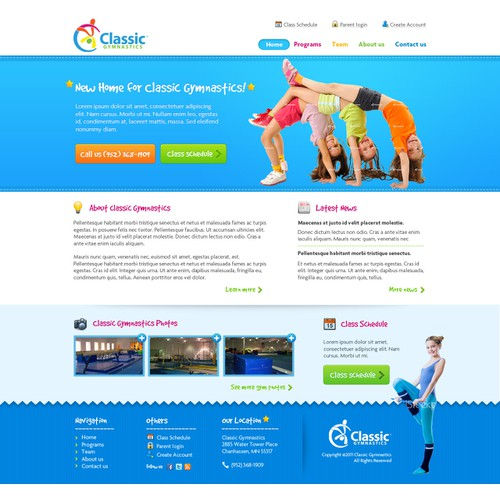 New website design wanted for Classic Gymnastics