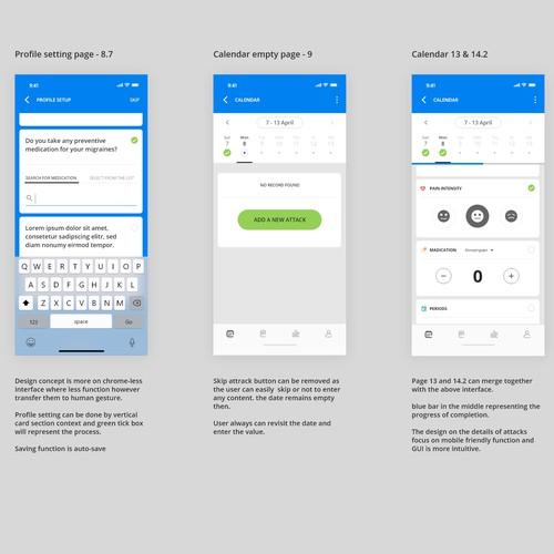 Pain tracker app design