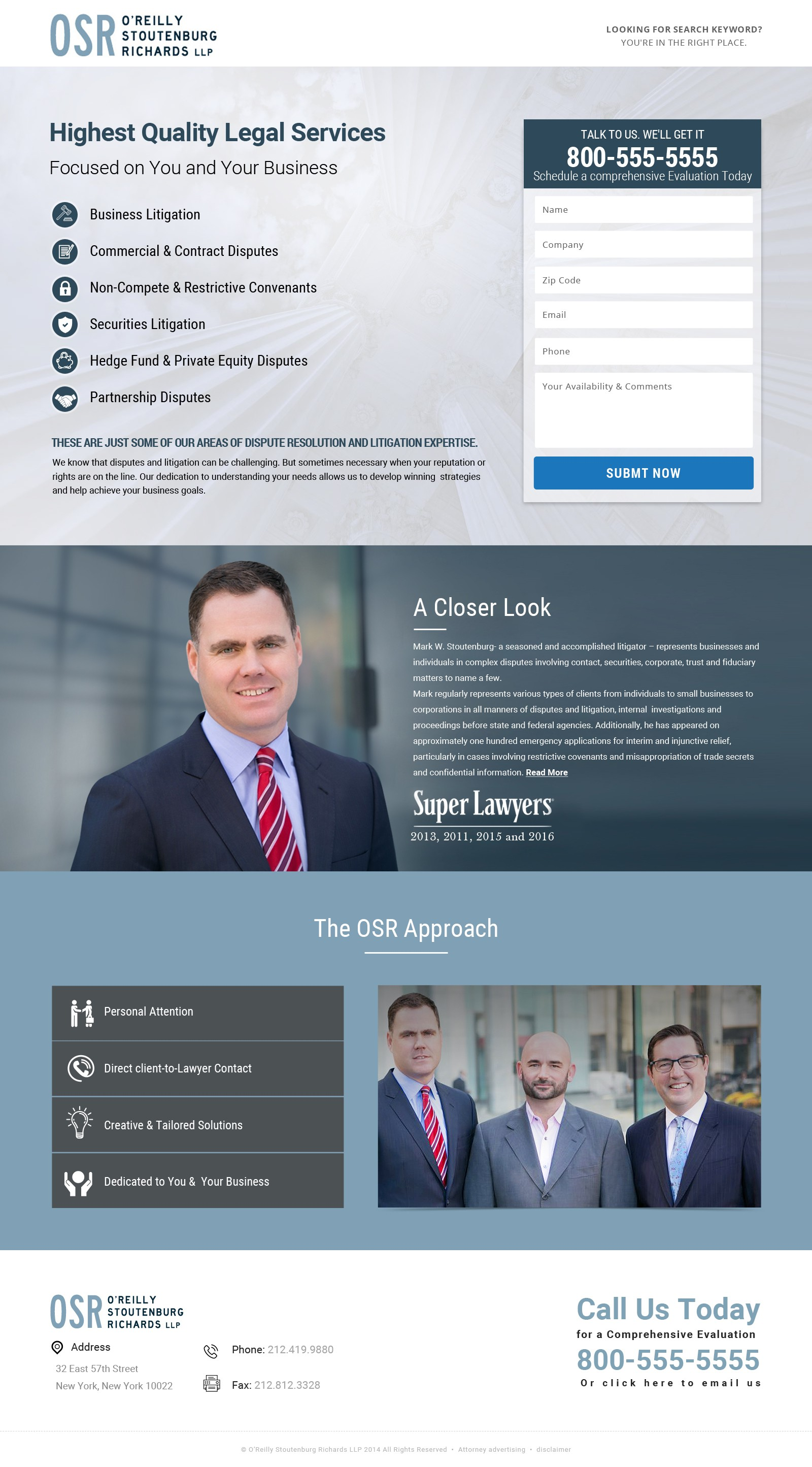 Law firm Landing page for marketing campaign