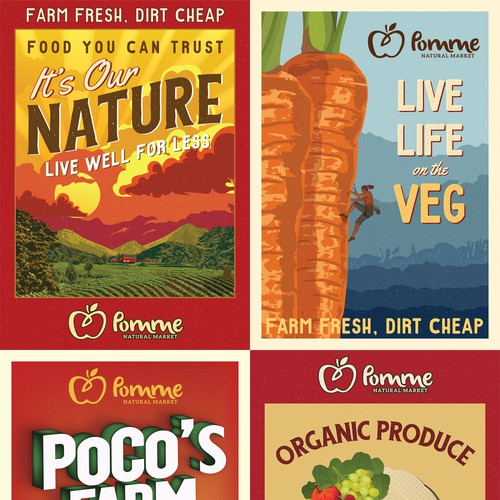Retro style produce posters