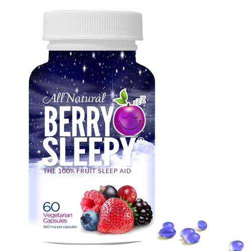 Create the bottle label for Berry Sleepy - The First 100% Fruit Sleep Aid