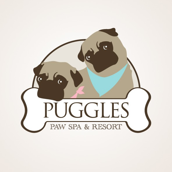 Create the next logo for Puggles Paw Spa and Resort