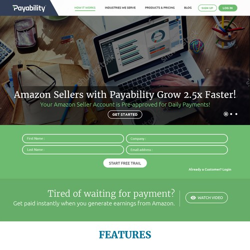 Landing Page Design for Payability