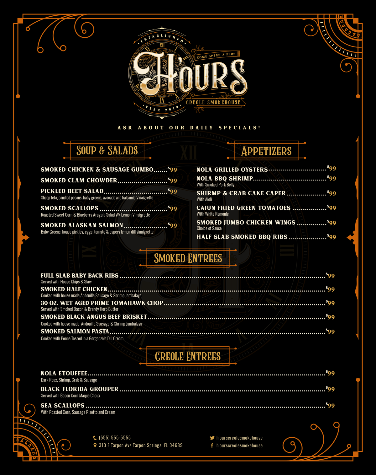 Menu Design for H'ours Creole Smokehouse