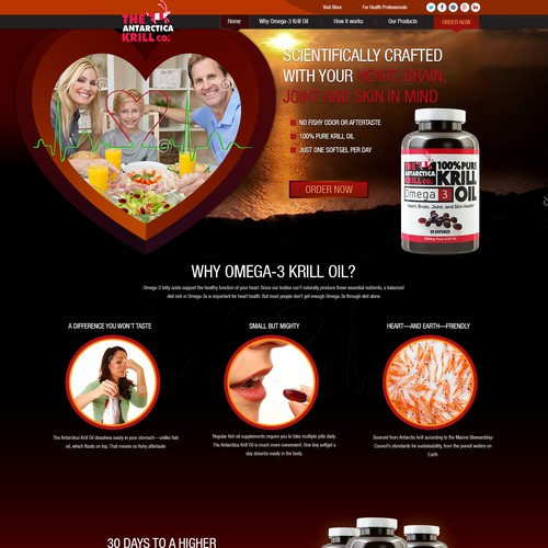 Landing/Home Page for Omega-3 Krill Oil