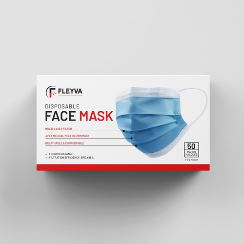 Box packaging for Covid 3 Ply masks