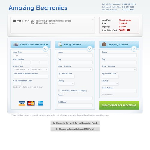 Checkout screens for electronics stores