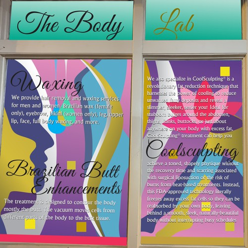 Window graphics for the body lab