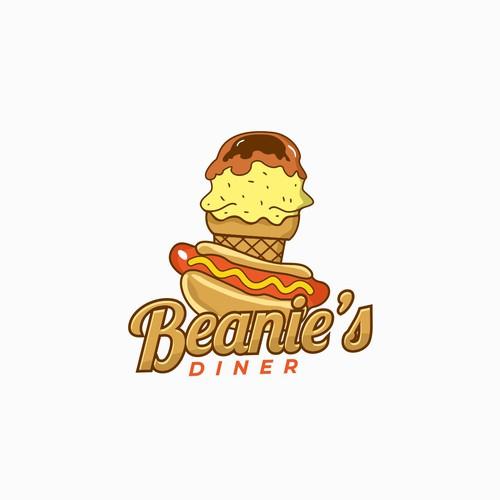 Hotdog and ice cream shop logo