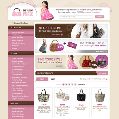 The Trendy Purse search engine homepage needs a makeover