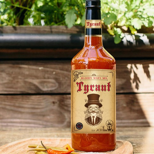 """Vintage, """"steampunk,"""" label for new Bloody Mary Mix"""