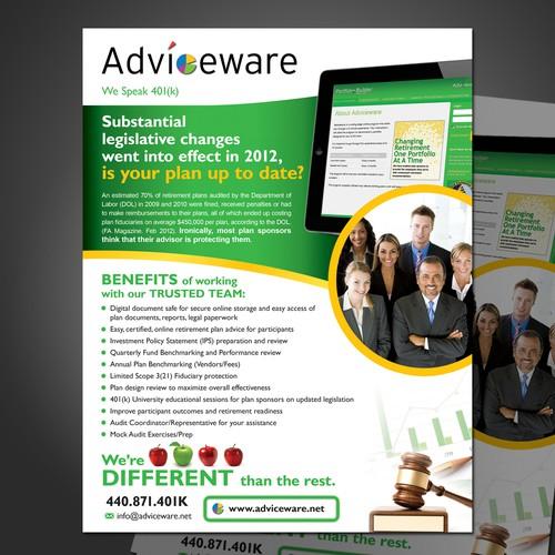 postcard or flyer for Adviceware