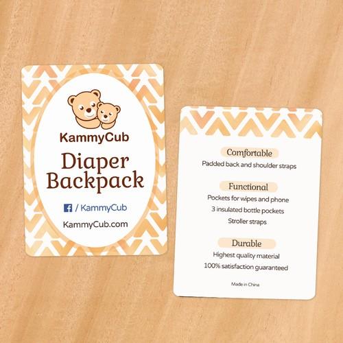 Diaper Backpack Hang Tag Design