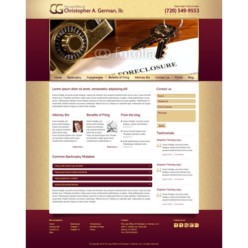 The Law Offices of Christopher A. German, LLC needs a new website design