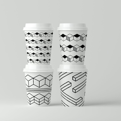 Isometric patterns for paper coffee cup's