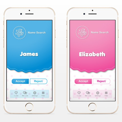 View of a page on app design for Love Baby Names