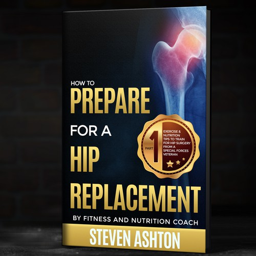A book cover for people considering a hip replacement surgery. I wanted to convey a classy, confident yet serious medical feel.