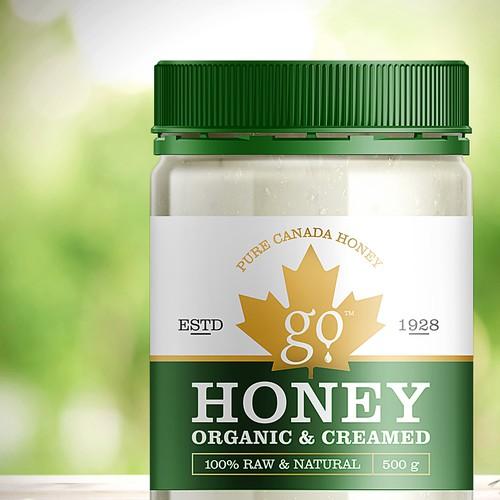 Label Go Organic Creamed Honey from Canada