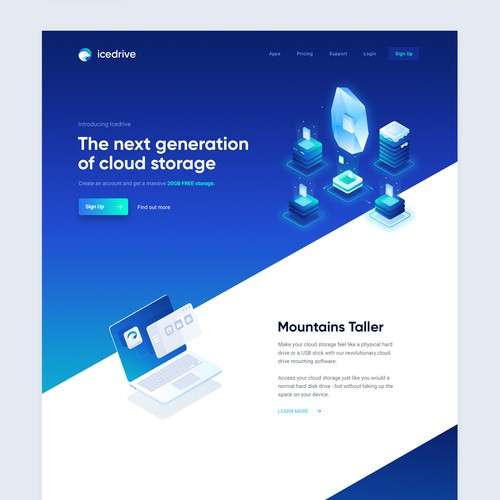 Encrypted Cloud Storage Website, Logo, Branding, UI design