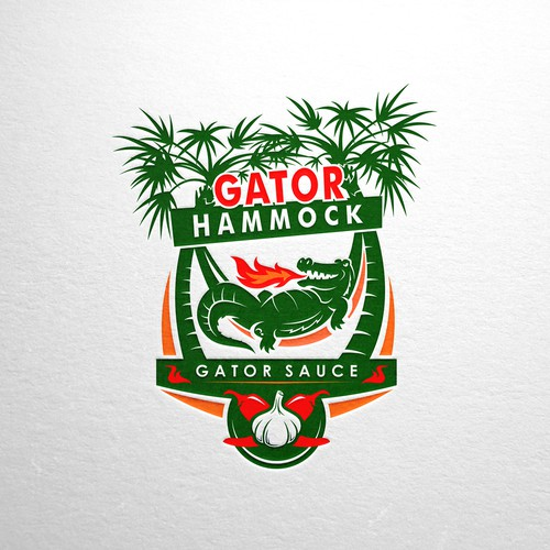 Mascot logo with alligator for Gator Hammock Hot Sauce Brand
