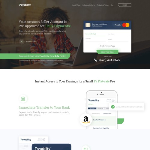 Landing page redesign for a finance company
