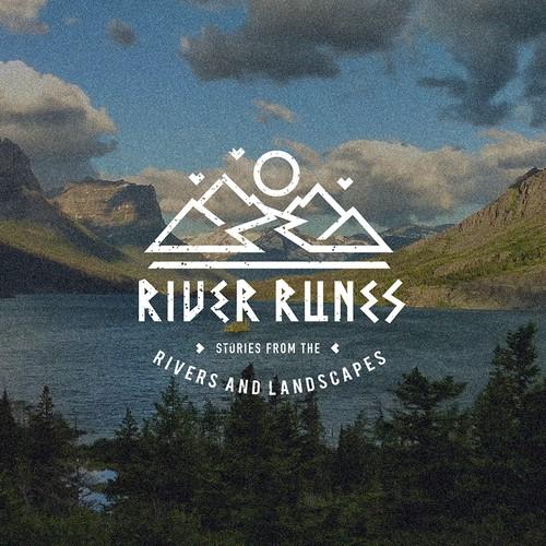 Geometric landscape logo for River Runes