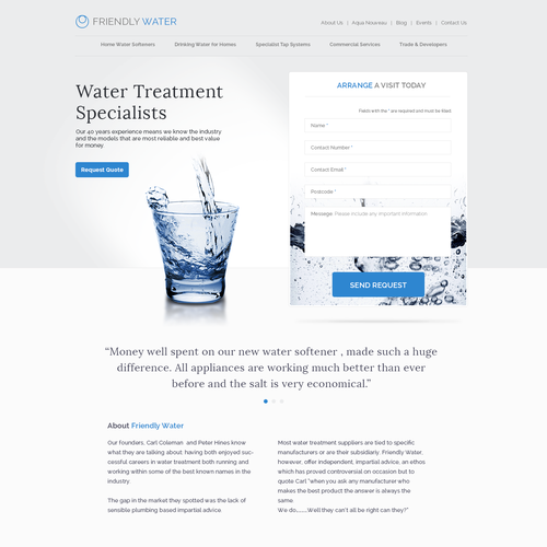 Homepage design for a water treatment company