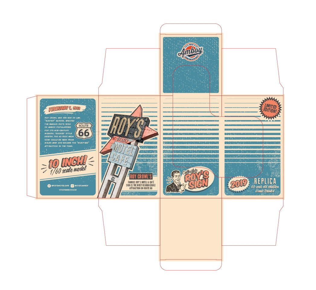 Design retro packaging for Roy's Motel & Cafe collectible (Route 66 famous attraction)