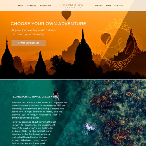 Striking web page design for a luxury travel agency