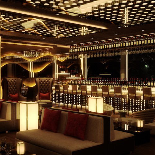 3D Realistic Interior Design for Hookah Lounge