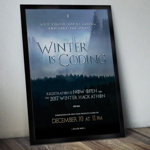 Poster Design for Black Bird's Winter Hackathon 2017
