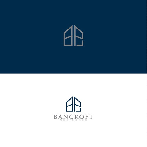 clean simple line logo concept for Bancroft Property Investments