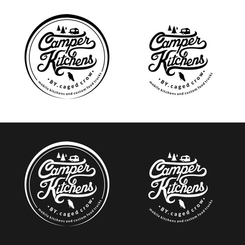 a vintage style logo for a custom food truck builder