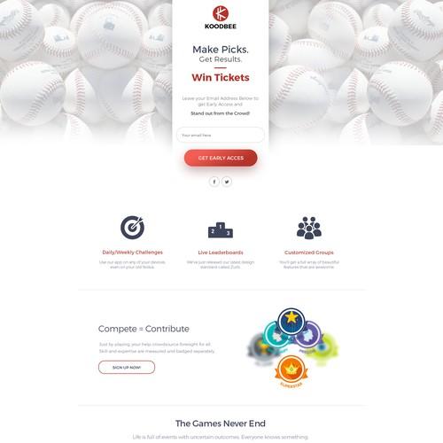 Landing Page for Baseball app
