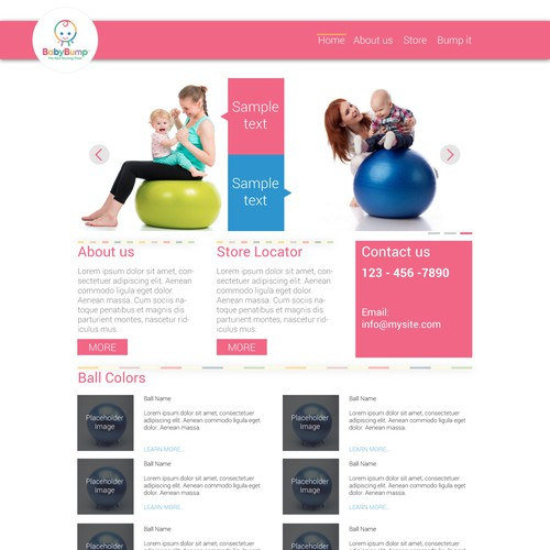 Baby Bump: The New Rocking Chair Website Homepage design