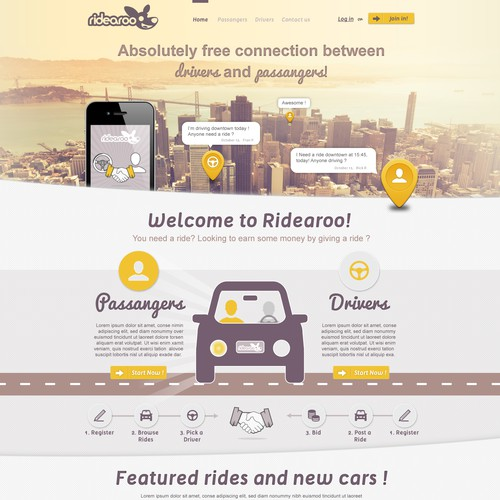 Create a New Website Design for Ridearoo
