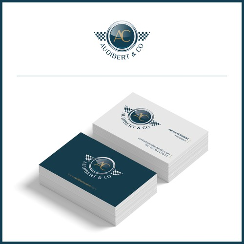 Logo et identité suggérant le prestige et la course automobile