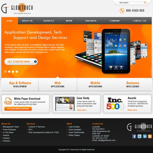 Website Design for GlowTouch Technologies