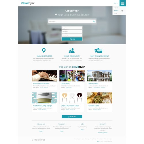Website for Cloudflyer, a marketplace for local services