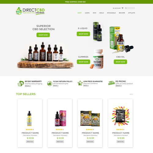 Website Design for CBD oil
