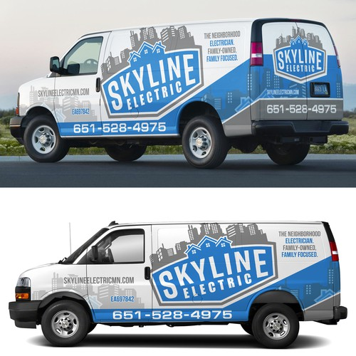 skyline electric van wrap