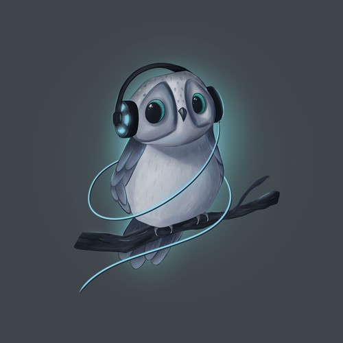 Owl with headphones