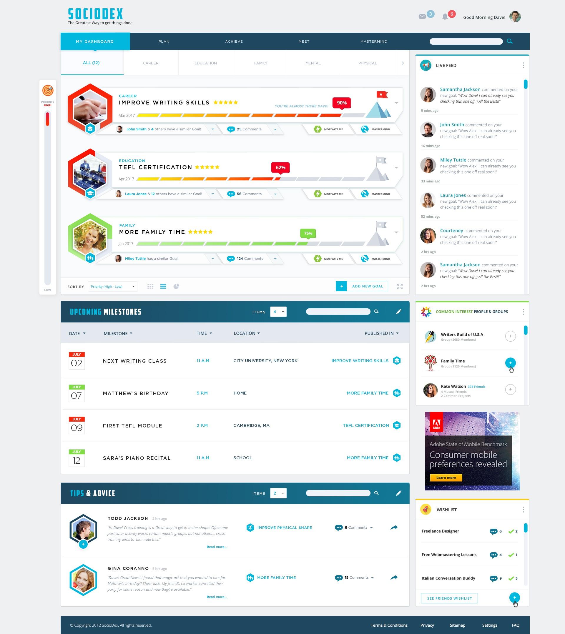 Design a Goal-Oriented Social Network: SocioDex