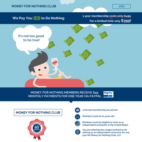 Landing page for Money for Nothing Club