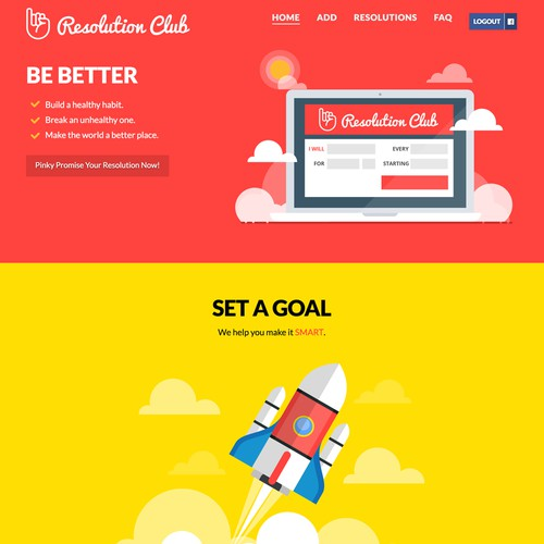 Resolution Club Landing page